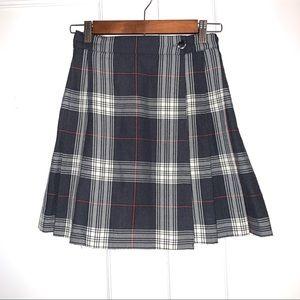90s GAP Vintage Pleated Plaid Side Button Skirt